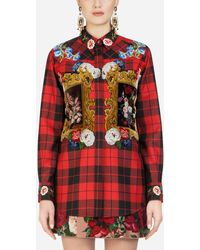 Dolce & Gabbana Oversize Tartan Shirt With Embroidery - Red