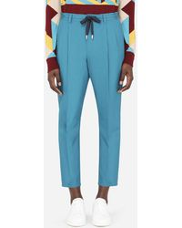 Dolce & Gabbana Cotton jogging Trousers With Patch - Blue