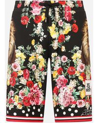 Dolce & Gabbana Jersey jogging Shorts With Lion Mix Print - Multicolor