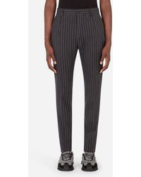 Dolce & Gabbana Striped Wool And Cotton Pants - Grigio