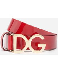 Dolce & Gabbana Patent Leather Belt With Dg Buckle - Red