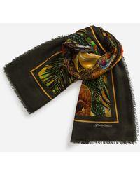 Dolce & Gabbana Sciarpa Modal/Cashmere Stampa Giardino - Multicolore
