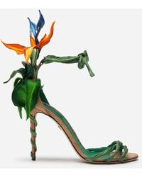 Dolce & Gabbana Satin Sandals With Bird Of Paradise Embroidery - Green