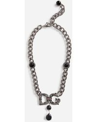 Dolce & Gabbana Link Necklace With Dg Logo And Rhinestone-Detailed Pendant - Mettallic