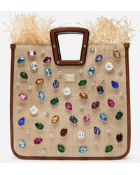 Dolce & Gabbana Beatrice Shopping Bag In Tropea Straw With Jewel Embroidery - Brown