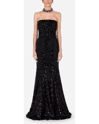Dolce & Gabbana Long Sequined Dress - Black