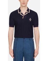 Dolce & Gabbana Polo Shirt In Silk Jersey And Cotton With Patch - Azul