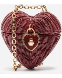 Dolce & Gabbana Dolce Heart Box In Painted Wicker - Rosso