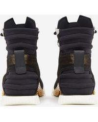 Dolce & Gabbana High Top Ns1 Sneakers In Mixed Materials - Noir