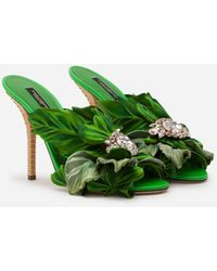 Dolce & Gabbana Satin Mules With Leaf Appliqué And Jewel Embroidery - Green