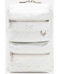 Dolce & Gabbana Dna Sicilia Nylon Backpack With Rubberized Logo - White