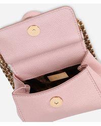 Dolce & Gabbana Sicily Handbag In Printed Dauphine Calfskin - Pink