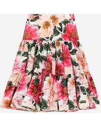 Dolce & Gabbana Long Camellia-print Poplin Skirt - Red