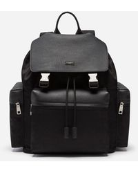 Dolce & Gabbana Backpack In Mixed Materials - Black