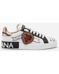 Dolce & Gabbana - Portofino Trainers In Nappa Calfskin With Designers' Patches - Lyst