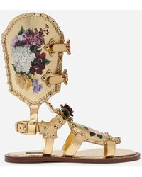 Dolce & Gabbana Gladiator Sandals With Floral Painting And Studs - Metallic