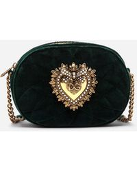 Dolce & Gabbana Devotion Camera Bag Aus Glattem Samt Matelassé - Grün