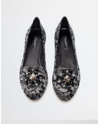 Dolce & Gabbana Slipper In Taormina Lurex Lace With Crystals - Grigio