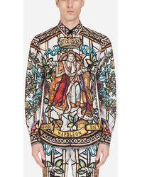 Dolce & Gabbana Cotton Martini Shirt With Napoleon Print - Multicolour