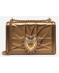 Dolce & Gabbana Medium Devotion Bag In Quilted Nappa Mordoré - Mettallic