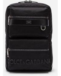 Dolce & Gabbana Sac À Dos Adn Sicile En Nylon Avec Logo Caoutchouté - Noir