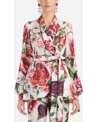 Dolce & Gabbana - Peony-print Silk Pajama Shirt - Lyst