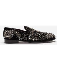 Dolce & Gabbana - Pantoufles En Velours Avec Broderie - Lyst