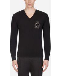 Dolce & Gabbana V-neck Wool Knit With Patch - Black