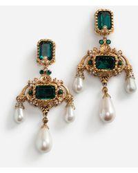 Dolce & Gabbana Ohrhänger Mit Zierelementen Strass Und Perlen - Mettallic