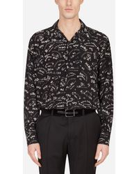 Dolce & Gabbana - Hawaiihemd Seide Letter-Print - Lyst