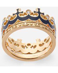 Dolce & Gabbana Crown Yellow Gold Ring With Blue Enamel Crown And Diamonds - Metallic