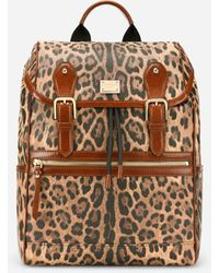Dolce & Gabbana - Leopard-print Crespo Backpack With Branded Plate - Lyst