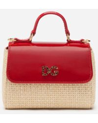 Dolce & Gabbana Handbag In Patent Leather And Straw With Rhinestone Dg Logo - Red