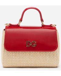 Dolce & Gabbana Borsa A Mano In Vernice E Paglia Logo Dg Strass - Rosso