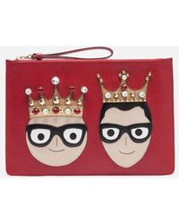 Dolce & Gabbana - Leather Pouch With Patches Of The Designers - Lyst