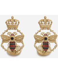 Dolce & Gabbana Gemelos King De Oro Amarillo Con Esmaltes Y Diamantes Negros - Metálico