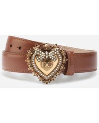 Dolce & Gabbana Leather Devotion Belt - Marron