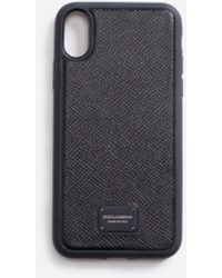 Dolce & Gabbana Dauphine Calfskin Iphone X Cover With Branded Plate - Black