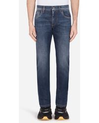 Dolce & Gabbana Stretch Slim-fit Medium Blue Jeans With Dg Embroidery