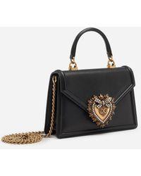 Dolce & Gabbana Small Smooth Calfskin Devotion Bag - Black