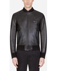 Dolce & Gabbana Leather Jacket With Branded Plate - Schwarz