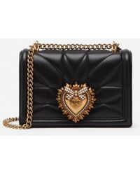 Dolce & Gabbana Small Devotion Crossbody Bag In Quilted Nappa Leather - Negro