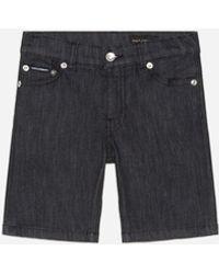 Dolce & Gabbana Bermuda Shorts In Stretch Black Washed Denim