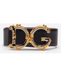 Dolce & Gabbana Calfskin Belt With Logo - Negro