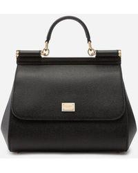 Dolce & Gabbana Medium Sicily Handbag In Dauphine Leather - Noir