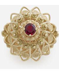 Dolce & Gabbana Ring Pizzo Aus Gelbgold Und Rhodolith-Granat - Mettallic