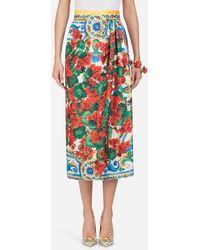 Dolce & Gabbana Printed Silk Skirt - Multicolour