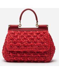 Dolce & Gabbana Bolso Sicily Pequeño De Rafia A Ganchillo - Rojo
