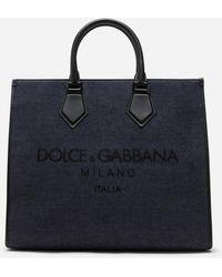 Dolce & Gabbana Shopper Edge Aus Denim Mit Logoprint - Blau