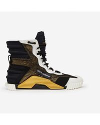 Dolce & Gabbana High Top Ns1 Sneakers In Mixed Materials - Black